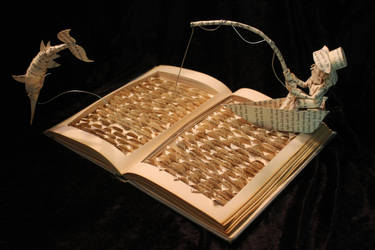 The Old Man and the Sea Book Sculpture by wetcanvas