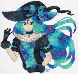 Inktober Day 18 - Glalaxy Witch by DeathTheDragon