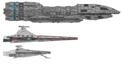 Battlestar, Venator and Acclamator Size Comparison by MartinKassemJ120