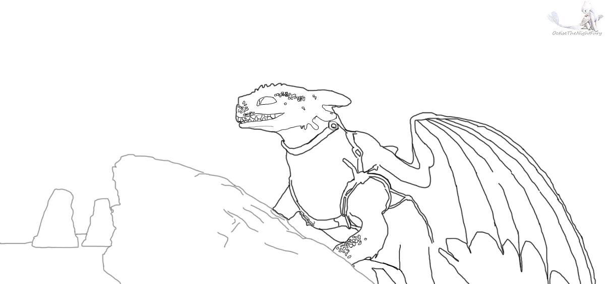 Night Fury With Saddle Drawing By Octisethenightfury On Deviantart