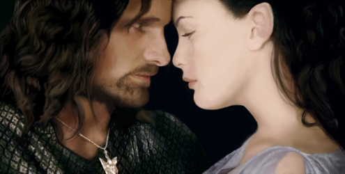 Aragorn and Arwen by Lindenlin