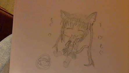 neko chibi eating some fish cake thingys  :3 by Aelux5216