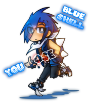 Mario Kart Blue Shell Personified by GeekyKitten64