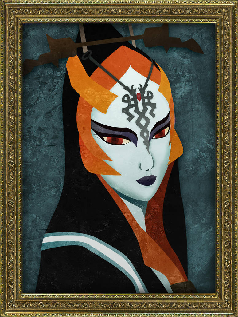 Framed Faux-Paint Midna by ever-so-excited