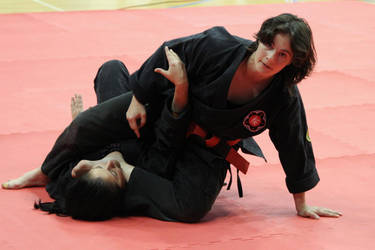 Judo-placing her foot on the throat by bondjoev
