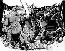 Godzilla vs Red Ronin by fbwash