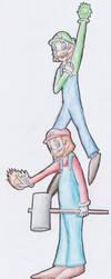 Mario and Luigi... Jump, Hammer, Hand by Laogei