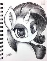 Rarity Pen Sketch by sheandog