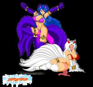 Commission: Tsukikage and Amaterasu Kitsune by NekoHybrid