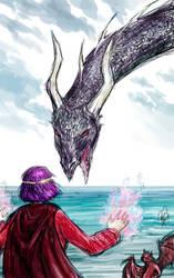 Vaarsuvius Faces the Dragon by Kaytara