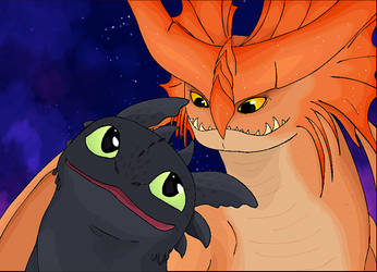 Toothless and Cloudjumper by BowtieMySoul