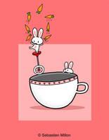 Carrot-Juggling Teacup Bunny by sebreg