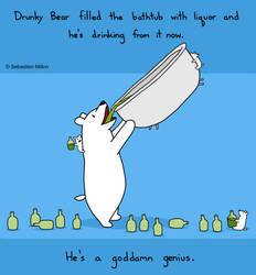 Drunky Bear Bathtub Time by sebreg