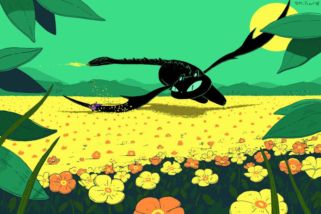 Cat Dragon Flying Over Flower Field by sebreg
