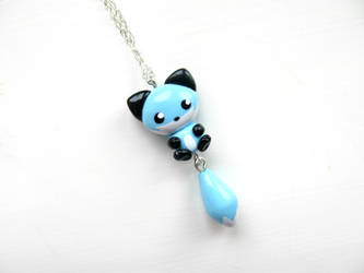 Blue Ice Fox Necklace by DapperLittleMagpie