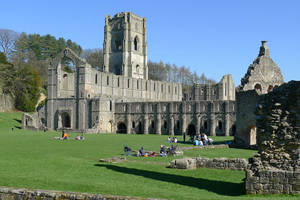 Fountains Abbey from South West by bobswin