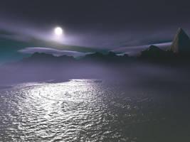 sea, mountain, night by tinte