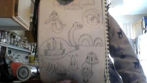 RPG drafts: Water monsters by YumiTsukiyoru