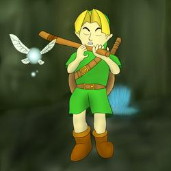 Link playing a stick by WolfKarono