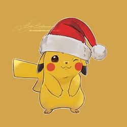 Christmas Pikachu by LoraLindemann