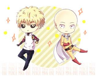 Chibi Genos and Saitama by Neko-Slay