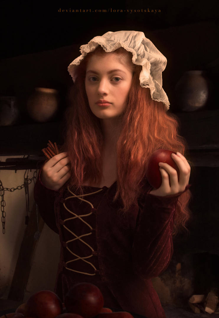 Portrait of a girl with apples and cinnamon by Lora-Vysotskaya