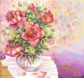 Roses bouquet on table by vikachaeeta
