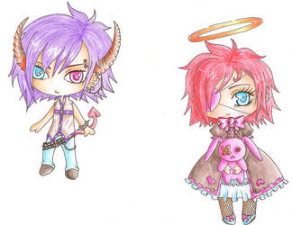 Twin Chibis by devilgirl112