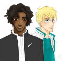 Virg and Rich in trackjackets by radishface