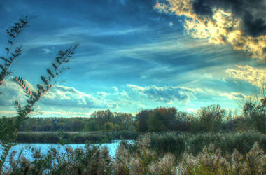 Sun Setting Over the Wetlands by BlackArrowPhotos