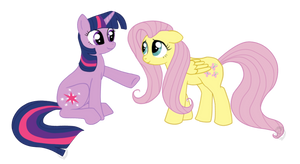 Twilight and Fluttershy by Sirzi