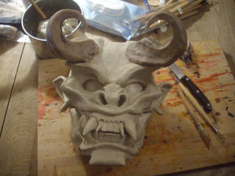 Clay sculpture for cast resin mask by smashy-bone