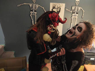 Polyurethane mask monster vs the X-Ray lady by smashy-bone