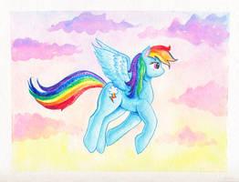 Rainbow Dash flying by kaikaku