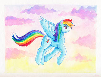 Rainbow Dash flying by kaikaku