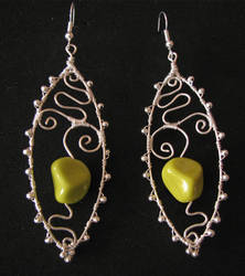 Spring green earings by Astukee