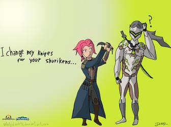 Maeve X Genji (Overwatch-Paladins FanArt) by wolfdark93
