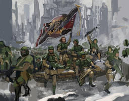 Charging of 8th Cadia Regiment by lathander1987