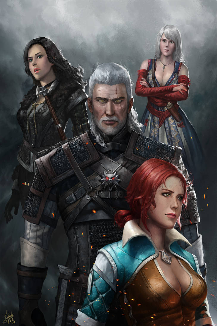 A Witcher and Three Sorceresses by lathander1987