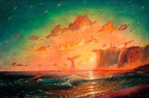 Sunset over a rocky island by hitforsa