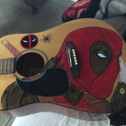 Deadpool painting on guitar by phoebe-d
