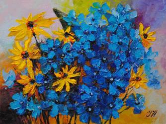 Garden bouquet with delphinium. by herrerojulia