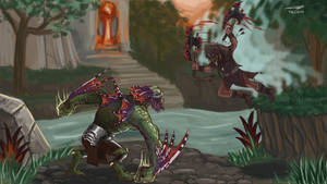 Paragon: Rampage VS Khaimera by rosedragoness