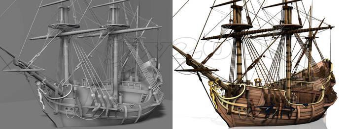 Little historical ship by LittleBlueMonster