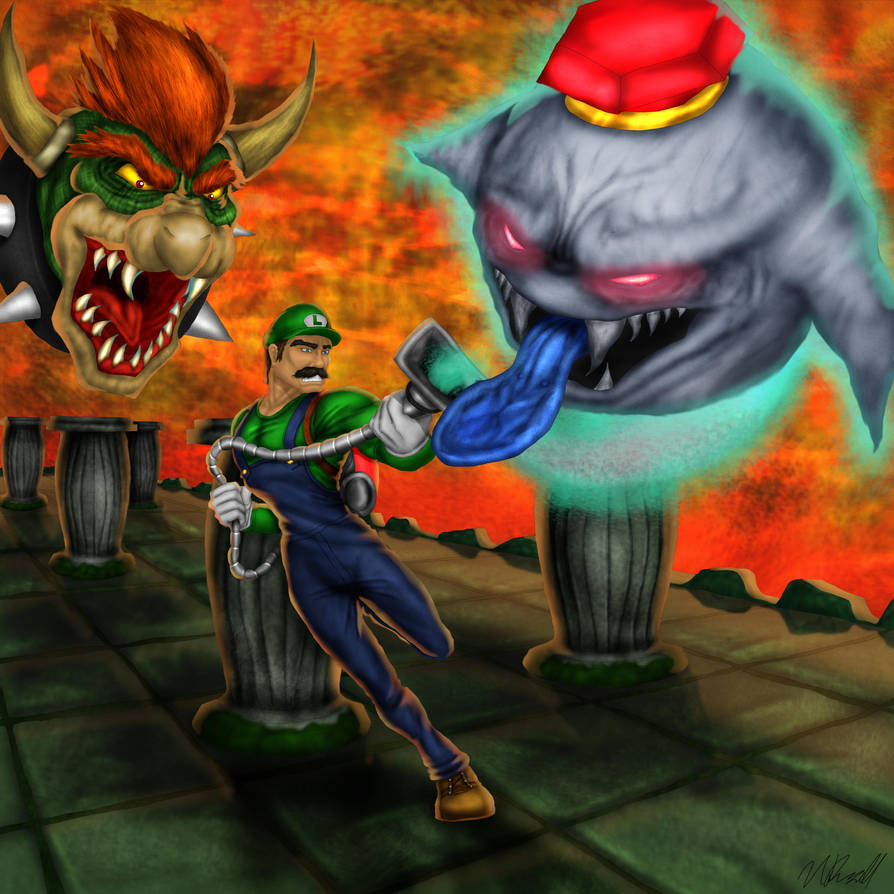 luigi s mansion battle king boo and bowser by