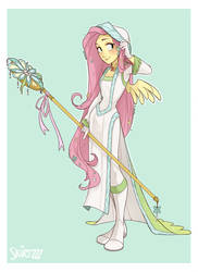 White Mage Fluttershy by Skirtzzz