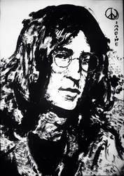 John Lennon Ink Painting -2015 by MimigaX