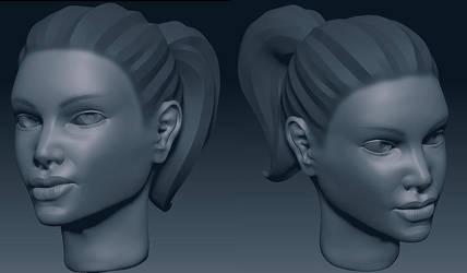 Girl Head Sketch by Soilworker06