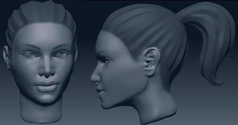Girl Head Sketch 2 by Soilworker06