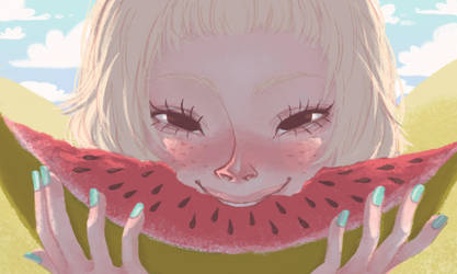 watermelon girl by babsdraws